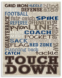 Brown and Navy Football Typography Wood Sign