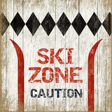 Ski Zone 6 Wood Sign