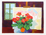 Red Flowers with Painting Collectable Print by Guy Charon