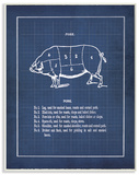 Vintage Pig Body Blueprint Wood Sign