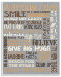 Playroom Rules Typography Denim Feel Wood Sign
