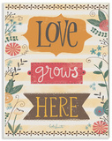 Love Grows Here Autumn Colors Wood Sign