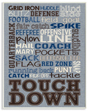 Football Typography Denim Feel Wood Sign