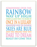 Somewhere Over The Rainbow Typography Wood Sign