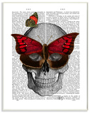 Newspaper Print Skull with Butterflies Wood Sign