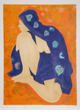 Untitled - Nude in Purple Robe Collectable Print by Alain Bonnefoit