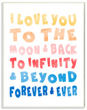 Love To Moon and Back Rainbow Typography Wood Sign