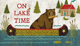 On Lake Time Wood Sign