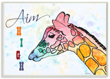 Watercolors Aim High Giraffe Wood Sign