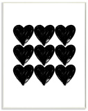 Hearts Black and White Glam Wood Sign