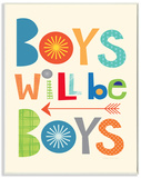 Boys Will Be Boys Multi-Color with Arrow Wood Sign