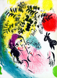 Lovers with Red Sun Premium Edition by Marc Chagall
