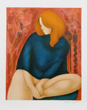 Portrait in Blue Collectable Print by Alain Bonnefoit