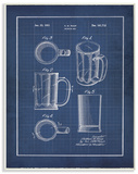 Vintage Beer Mug Blueprint Wood Sign