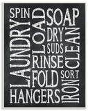 Laundry Words Typography Chalk Look Wood Sign