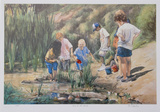 Kids at the Beach Collectable Print by Neville Clarke