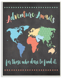 Adventure Awaits World Map Wood Sign