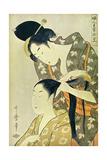 Hairdresser (Feme en Train de Coiffeur Une Autre Entre 1754 et 1806) Metal Print by Utamaro Kitagawa