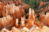 View of hoodoos and cliffs at dawn, rock erosion in natural amphitheatre, Bryce Canyon Photographic Print by Martin Withers
