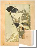 Hairdresser (Feme en Train de Coiffeur Une Autre Entre 1754 et 1806) Wood Print by Utamaro Kitagawa