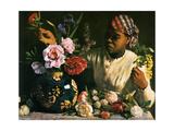 Frederic Bazille - La Negresse Aux Pivoines 1870 - Reprodüksiyon