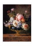 Fleurs Dans un Vase de Porceleine Bleue, 1780 Metal Print by Anne Vallayer-coster