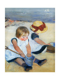 Mary Cassatt - Petites Filles Jouant Sur la Plage 1884 - Art Print