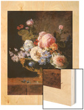 Fleurs Dans un Vase de Porceleine Bleue, 1780 Wood Print by Anne Vallayer-coster