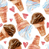 Watercolor Ice Cream. Premium Giclee Print by  tanycya