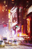 Manhattan Winter Night - In the Style of Oil Painting Giclee Print by Philippe Hugonnard