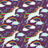Watercolor Fairy Tale Seamless Pattern with Flying Unicorn, Rainbow, Magic Clouds and Rain Prints by  tanycya