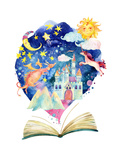 Watercolor Open Book with Magic Cloud. Posters by  tanycya