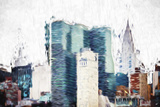 Manhattan Skyscrapers II - In the Style of Oil Painting Giclee Print by Philippe Hugonnard