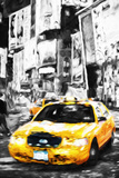 Yellow Taxi II - In the Style of Oil Painting Giclee Print by Philippe Hugonnard