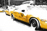 Snowy Taxis Giclee Print by Philippe Hugonnard