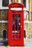 Red Phone Booth - In the Style of Oil Painting Giclee Print by Philippe Hugonnard