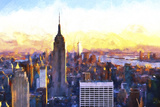 Manhattan Nightfall Giclee Print by Philippe Hugonnard