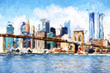 Manhattan Island - In the Style of Oil Painting Giclee Print by Philippe Hugonnard