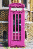 Dark Pink Phone Booth - In the Style of Oil Painting Giclee Print by Philippe Hugonnard