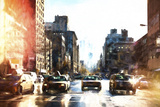 Racing NYC Taxis Giclee Print by Philippe Hugonnard