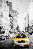 Yellow Taxi III - In the Style of Oil Painting Giclee Print by Philippe Hugonnard