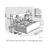 """You wanted to sleep in bed with us—start proofing these briefs."" - New Yorker Cartoon Regular Giclee Print by Zachary Kanin"