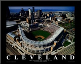 Cleveland - First Indians Game at Jacobs Field Mounted Print by Mike Smith