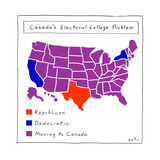 Canada's Electoral College problem - Cartoon Regular Giclee Print by Kim Warp