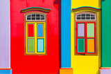 Colorful Windows and Details on A Colonial House in Little India, Singapore Photographic Print by  platongkoh