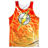 Tank Top: The Flash- Lightning Logo Black Back Tank Top