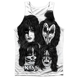 Tank Top: Kiss- Heads Sub (Black Back) Tank Top