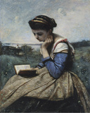A Woman Reading (1869-70), Detail Prints by Camille Corot