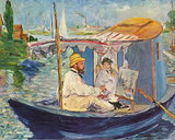 Claude Monet Working on His Boat in Argenteuil, 1874 Art by Édouard Manet