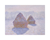 Haystacks (Effect of Snow and Sun), 1891 Premium Giclee Print by Claude Monet